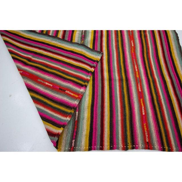 1960s 1960s Vintage Colorful Striped Decorative Kilim Rug- 6′ × 7′2″ For Sale - Image 5 of 7
