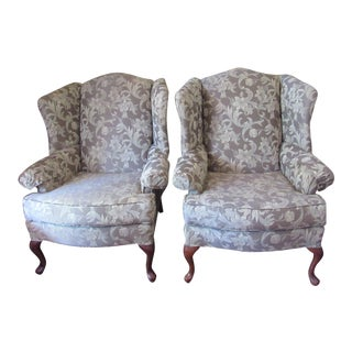 Upholstered Neutral Tones Queen Anne Wingback Chairs - a Pair For Sale