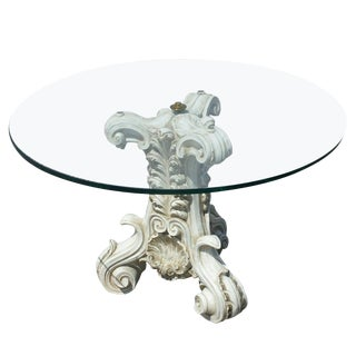 1980s Traditional Pedestal Column Base and Glass Top Coffee Table For Sale