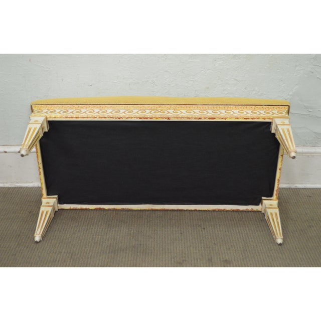 Yellow Vintage Regency Style Gilt Painted Wood Tufted Window Bench For Sale - Image 8 of 10