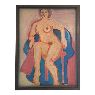 1950s Vintage Pink and Blue Modern Nude Painting For Sale