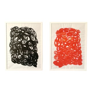 """""""Off With Their Heads"""" Black and Red Paintings - Set of 2 For Sale"""