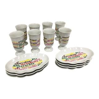 Mid-Century Ice Cream Sundae Dessert Dish Set - 15 Pieces For Sale