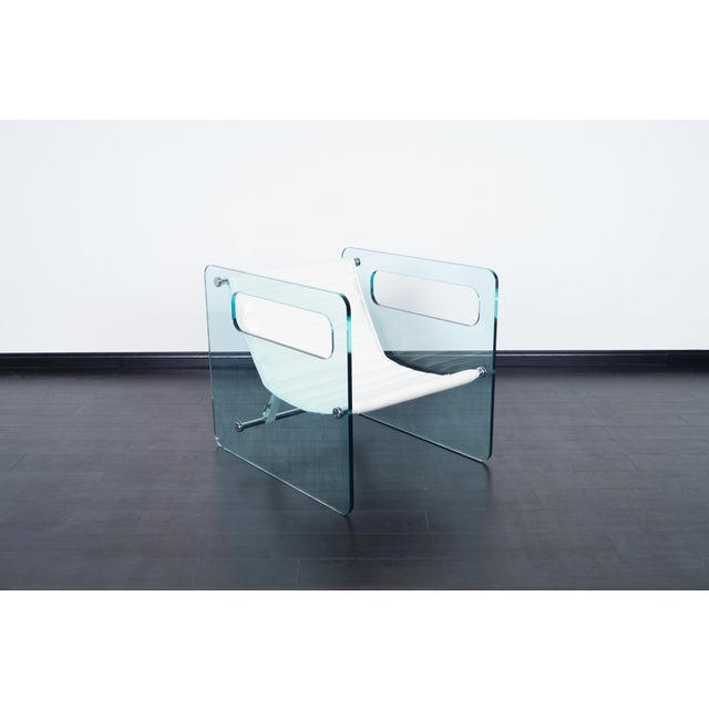 "Exceptional ""Naked"" glass lounge chair designed by Giovanni Tommaso for Tonelli in Italy. This spectacular chair is simply..."