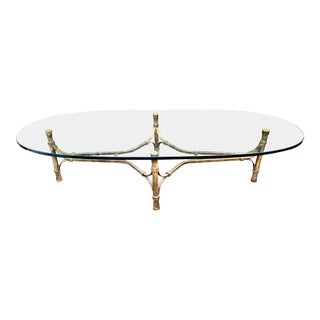Unusual Vintage Designer Glass Top Iron Base Modern Coffee Table For Sale