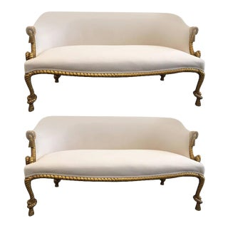 Two Rope and Tasseled Gilded Sofas For Sale