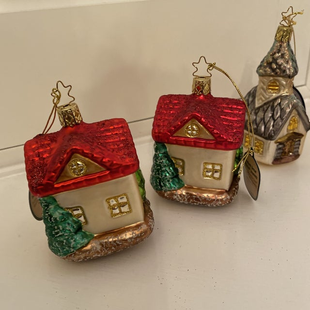 Inge Church and House Collection Glass Ornaments - Set of 6 For Sale - Image 4 of 11