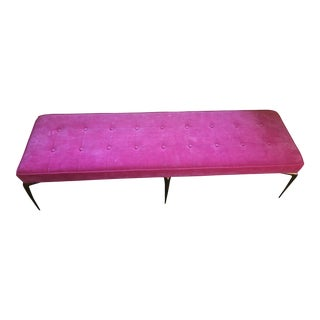Modern Tufted Bench With Gold Legs For Sale