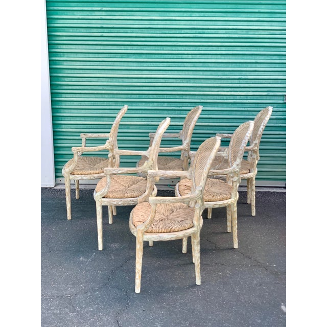 1960's Vintage Louis XVI Faux Bois Branch Form Cane Back Rush Seat Dining Chairs -Set of 6 For Sale In Phoenix - Image 6 of 13