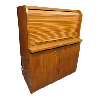 1960s Vintage Mid Century Danish Modern Teak Roll Top Desk For Sale