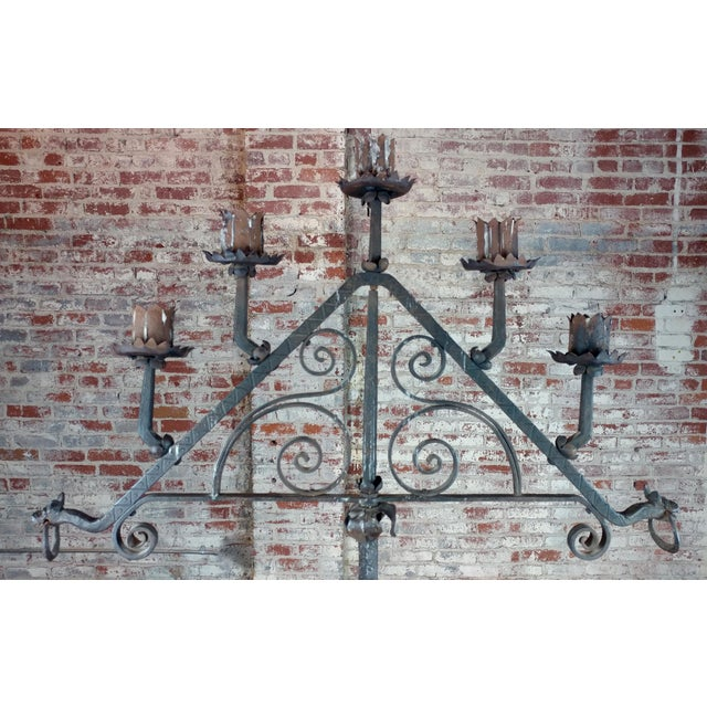 Metal Antique Spanish Gothic Wrought Iron floor Candelabra For Sale - Image 7 of 12
