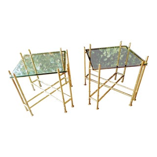 A Pair of Glass & Metal Faux Bamboo Hollywood Palm Beach Regency End Tables