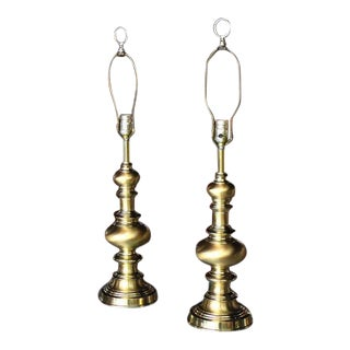 Pair of Heavy Solid Brass Finial Shape Table Lamps For Sale