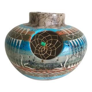 Vintage Navajo Artisan C. Smith Dreamcatcher Pottery Vessel For Sale