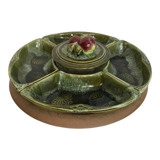 Handcrafted Pottery Rotating Serving Set of 6 For Sale