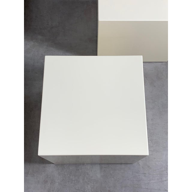White 1970s Modern Lacquered White Cube Side Tables- A Pair For Sale - Image 8 of 11
