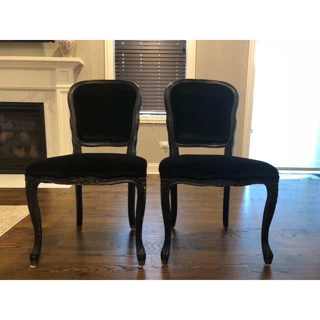 Traditional French Black Velvet Side Chairs - a Pair For Sale - Image 9 of 10