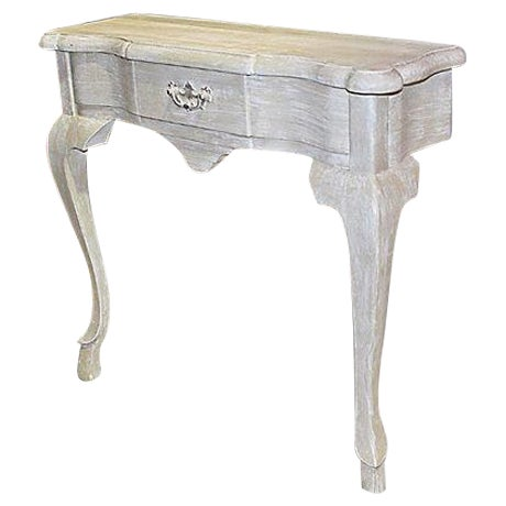 Queen Anne Faux-Painted White Wall Console Table For Sale