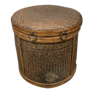 Mid 20th Century Woven Basket With Lid For Sale