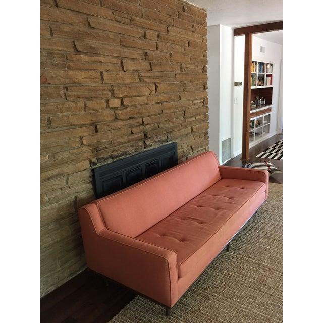 Salmon Mid Century Sofa For Sale - Image 4 of 6