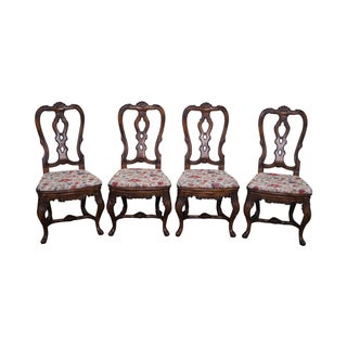 European Walnut Carved Dining Chairs - Set of 4 For Sale