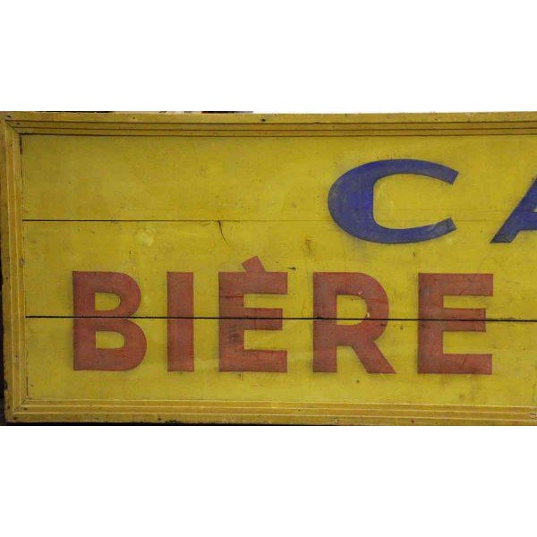 Long wooden hand painted Cafe Biere Wagner sign. Great color and solid condition!