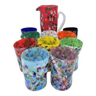 Custom Murano Glass Glasses & Carafe - Set of 10 Pieces. For Sale
