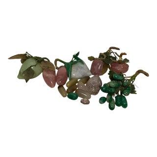 Vintage Fruit Carved Rose Quartz Jade Plum Grapes - Set of 7 For Sale
