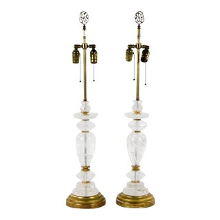 Neoclassical Rock Crystal Two Light Table Lamps - a Pair For Sale