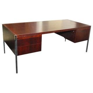 1970's Mid-Century Modern Mahogany Knoll Executive Desk For Sale