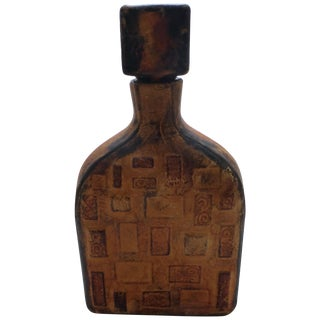 Vintage Italian Leather Wrapped Bottle For Sale