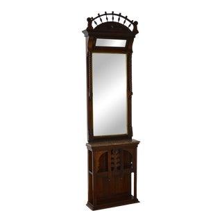 Antique Victorian Walnut Pier Hall Mirror w/ Marble Shelf For Sale