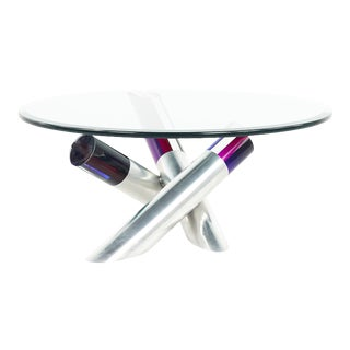 David Muniz Style Post Modern Glass and Colorful Acrylic Coffee Table For Sale