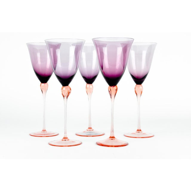 Vintage Murano Amethyst Wine Glasses For Sale - Image 4 of 8