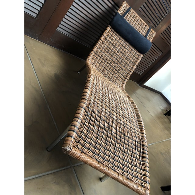 Brown Interior Wicker Chaise Lounge For Sale - Image 8 of 11