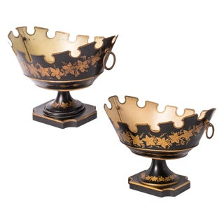 French Black & Gold Tole Neoclassical Footed Monteith/Rafraichissoire/Chillers, Hp For Sale