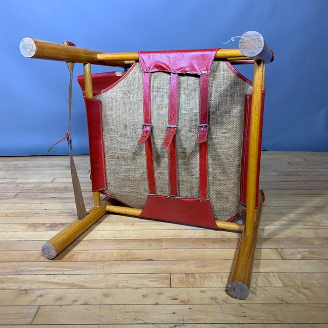 Red Red Leather and Birch Safari Chair, 1980s For Sale - Image 8 of 9