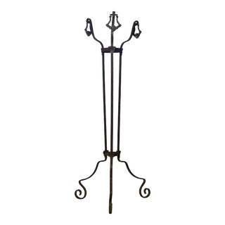1900's French Wrought Iron Pedestal Plant Stand For Sale