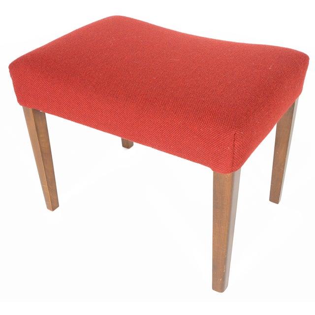 Danish Modern Crimson Wool Ottoman - Image 1 of 6