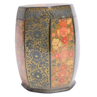 Floral Motif Hand Painted Tea Canister For Sale