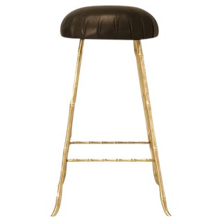 Jansen Style Polished Solid Brass & Faux Bamboo Design Counter Stool For Sale