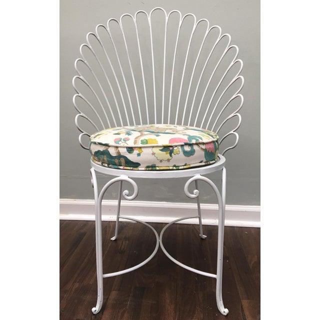 Hollywood Regency Shell Back Metal Side Chair - Image 8 of 8