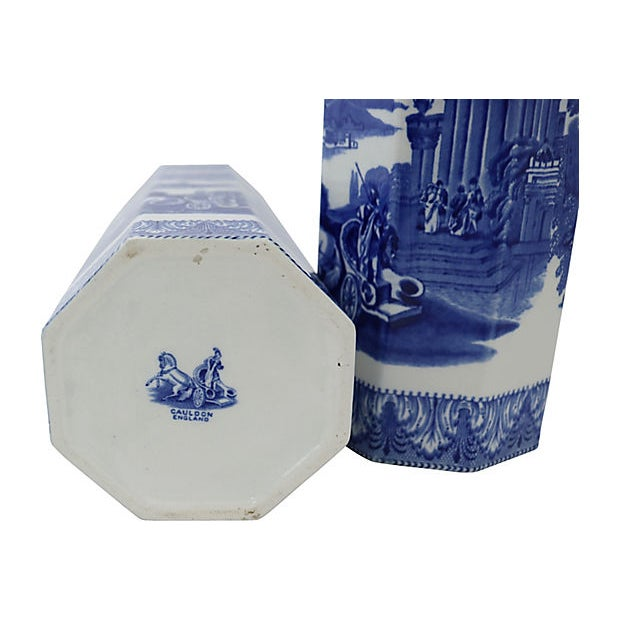 Cottage Large Antique Chariot Transferware Vases - C. 1900, a Pair For Sale - Image 3 of 4