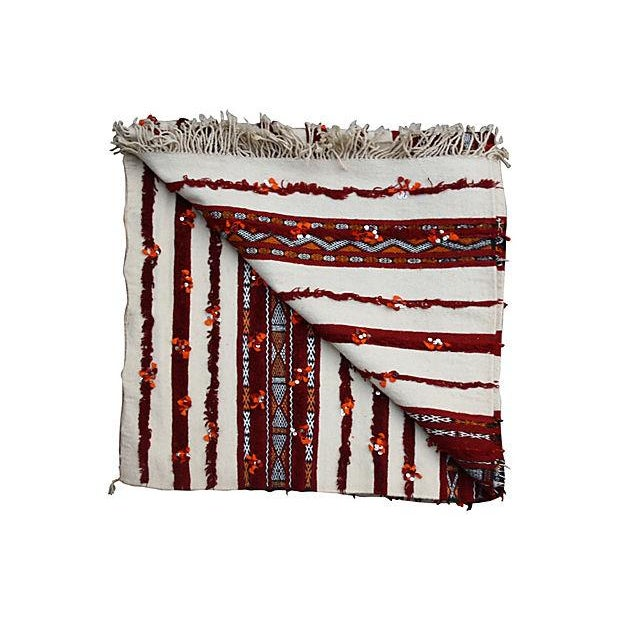 Moroccan Orange & Cream Berber Blanket For Sale - Image 4 of 4