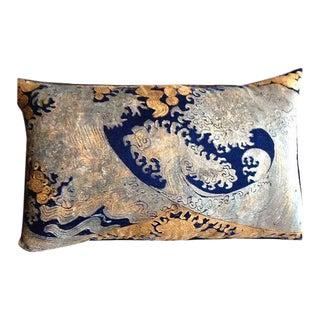 Hokusai Hand Painted Venetian Velvet Pillow For Sale