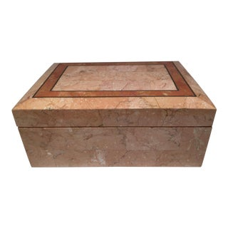 1980s Inlay Peach Colored Stone Box For Sale