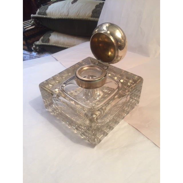Transitional 1900s English Inkwell With Sterling Mounts For Sale - Image 3 of 8