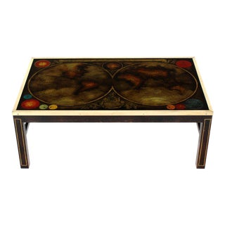 Brass Inlayed & Framed Rectangular Reverse Painted Atlas Map Top Coffee Table For Sale
