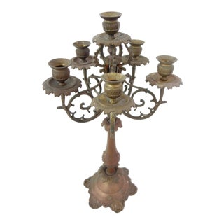 Victorian Era 6 Tier Brass Candle Holder For Sale