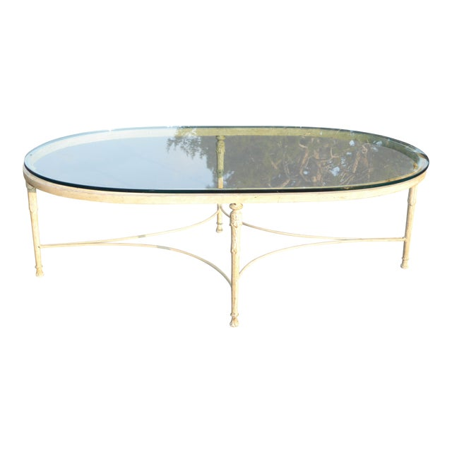 Vintage French Country Style Oval Off-White Iron Glass Top Coffee Table For Sale